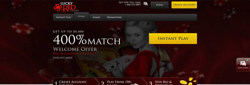 Lucky Red Casino 400% Match Bonus